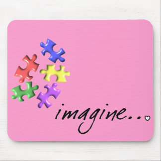 "Autism Support Gifts ""Imagine"" Design Mouse Pad"