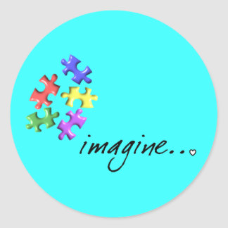 "Autism Support Gifts ""Imagine"" Design Classic Round Sticker"