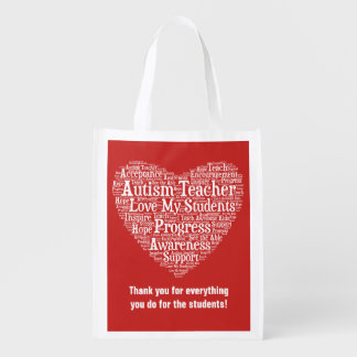 Autism Teacher Appreciation - Select Your Color Grocery Bag