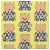 Autism Teddy Bear with Love Fabric