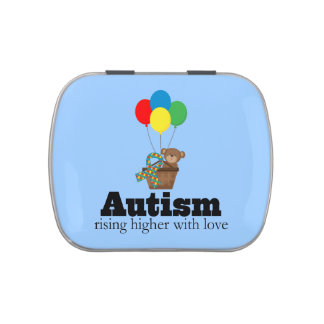 Autism Teddy Bear with Puzzle Ribbon Jelly Belly Candy Tin