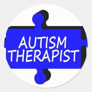 Autism Therapist Autism Puzzle Piece Classic Round Sticker