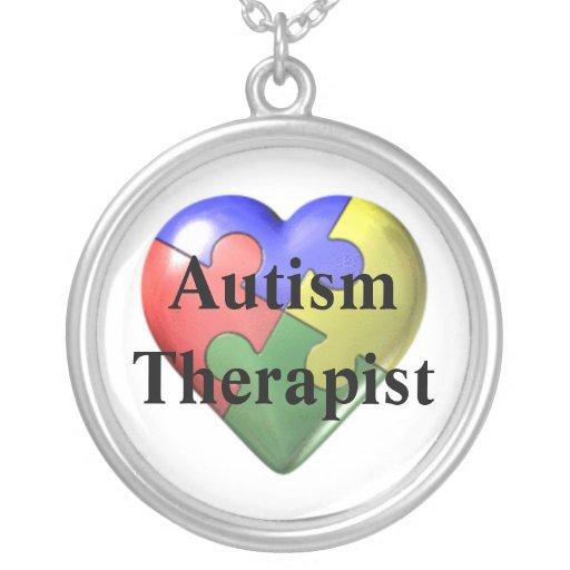 Autism Therapist Round Pendant Necklace