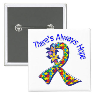 Autism There's Always Hope Floral 2 Inch Square Button