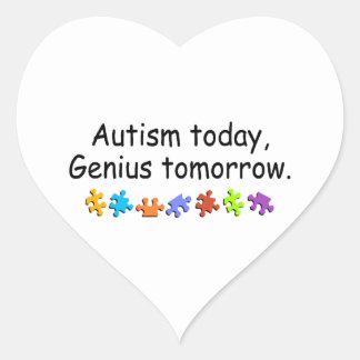 Autism Today Genius Tomorrow Heart Sticker