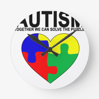 Autism - Together we can solve the puzzle T-Shirt. Round Clock