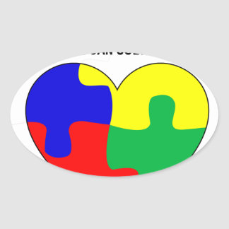 Autism - Together we can solve the puzzle T-Shirt. Oval Sticker