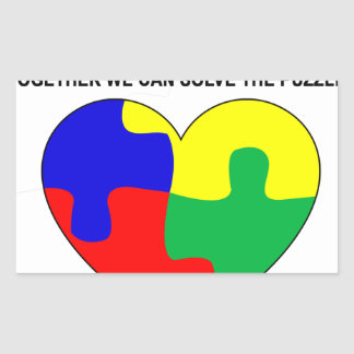 Autism - Together we can solve the puzzle T-Shirt. Rectangular Sticker