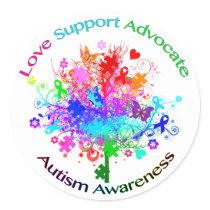 Autism Tree in Spectrum Classic Round Sticker