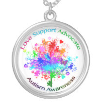 Autism Tree in Spectrum Silver Plated Necklace