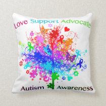 Autism Tree in Spectrum Throw Pillow