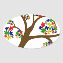 Autism Tree of Life Oval Sticker