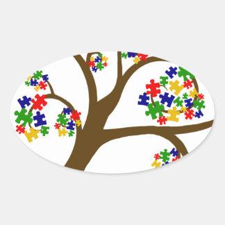 Autism Tree of Life Oval Sticker