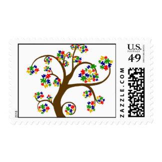 Autism Tree of Life Postage Stamp