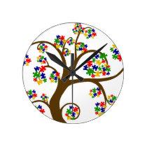 Autism Tree of Life Round Clock