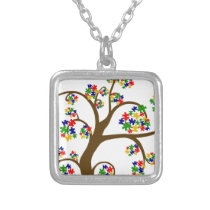 Autism Tree of Life Silver Plated Necklace