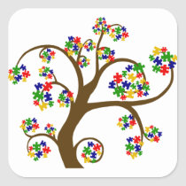 Autism Tree of Life Square Sticker