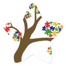 Autism Tree of Life Star Sticker