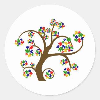 Autism Tree of Life Round Stickers