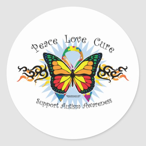Autism Tribal Butterfly Classic Round Sticker