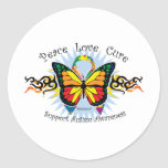 Autism Tribal Butterfly Round Stickers