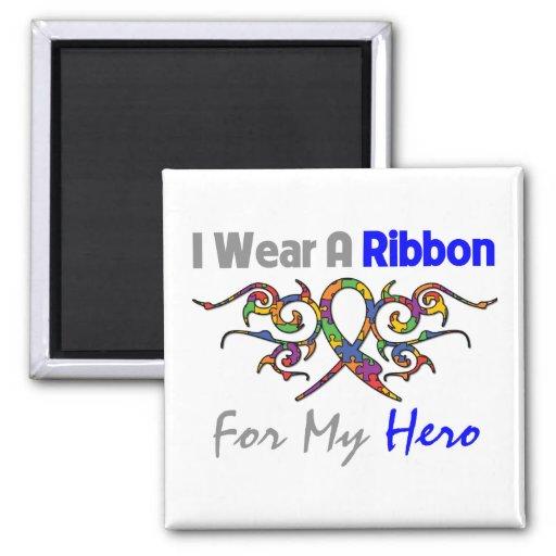 Autism Tribal Deco Ribbon Hero Fridge Magnets