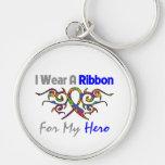 Autism Tribal Deco Ribbon Hero Key Chains