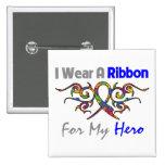 Autism Tribal Deco Ribbon Hero Pinback Buttons