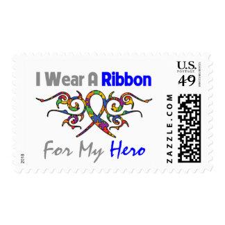 Autism Tribal Deco Ribbon Hero Postage Stamp