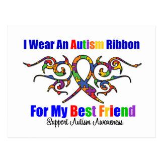 Autism Tribal Ribbon Best Friend Post Cards