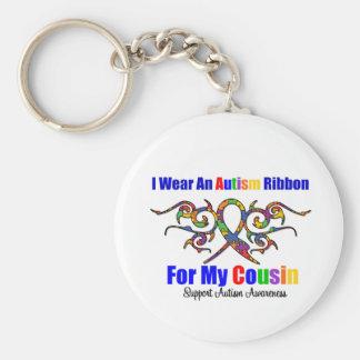 Autism Tribal Ribbon Cousin Basic Round Button Keychain