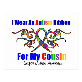 Autism Tribal Ribbon Cousin Postcard