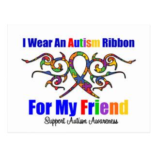 Autism Tribal Ribbon Friend Postcard