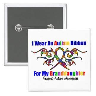 Autism Tribal Ribbon Granddaughter Buttons
