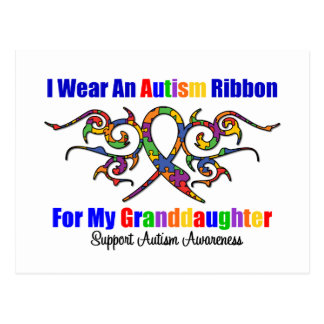 Autism Tribal Ribbon Granddaughter Post Card