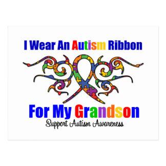 Autism Tribal Ribbon Grandson Post Card