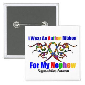 Autism Tribal Ribbon Nephew Pinback Button