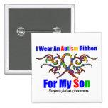 Autism Tribal Ribbon Son Button