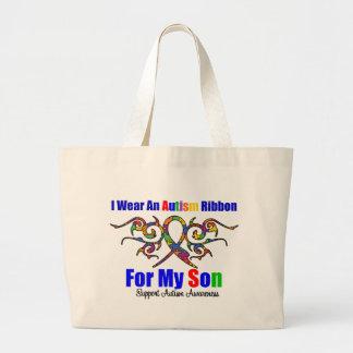 Autism Tribal Ribbon Son Large Tote Bag