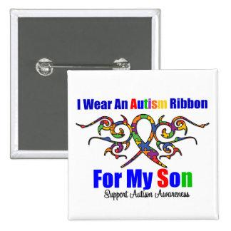 Autism Tribal Ribbon Son Pinback Button