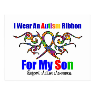 Autism Tribal Ribbon Son Post Card