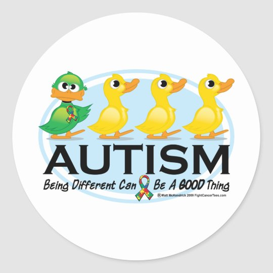 Autism Ugly Duckling Classic Round Sticker
