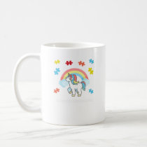 Autism Unicorn Embrace differences Puzzle Rainbow Coffee Mug