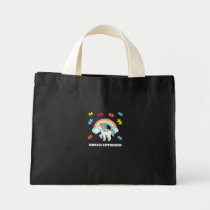 Autism Unicorn Embrace differences Puzzle Rainbow Mini Tote Bag