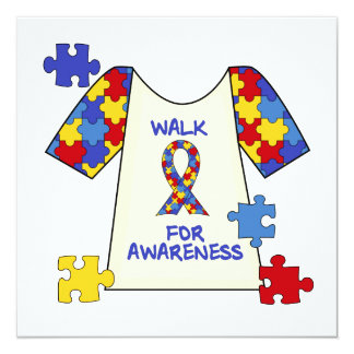 "Autism Walk For Awareness 5.25"" Square Invitation Card"