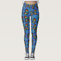 Autism Walk Race Butterfly Puzzle Leggings