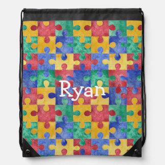 Autism watercolor puzzle custom drawstring bag