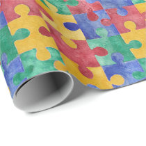 Autism watercolor puzzle wrapping paper