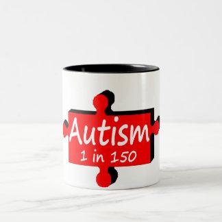 Autismo 1 en 150 (PP rojos) Taza De Café De Dos Colores