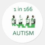 Autismo 1 en 166 pegatina redonda